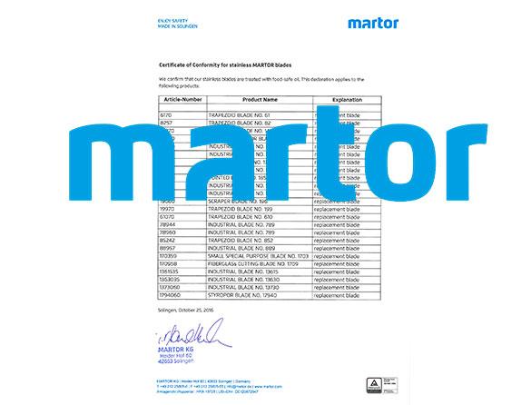 Certificado de Conformidad para las láminas inoxidables de MARTOR.
