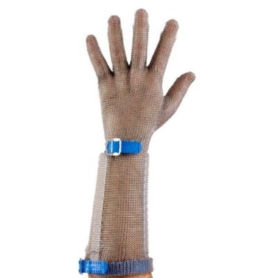 Guante Malla Metalica Con Cubrebrazo Talle L (azul)